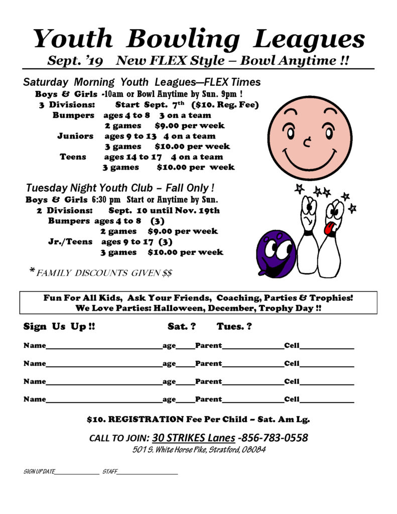 Youth Bowling League Schedule